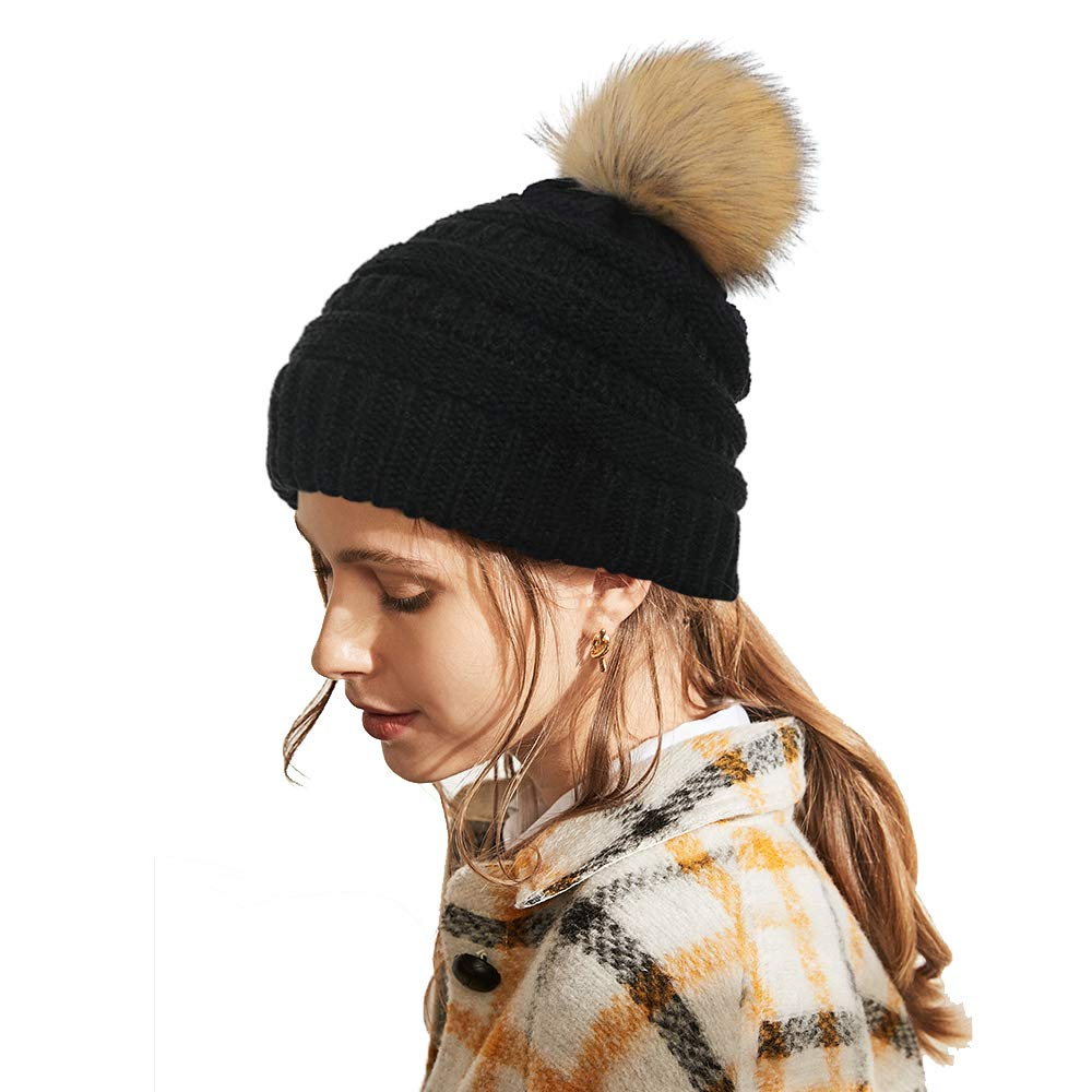 MMTX Womens Ladies Winter Knitted Hat Warm Beanie Cap with Chunky Faux Fur Bobble Cap SKI Snowboard Hats