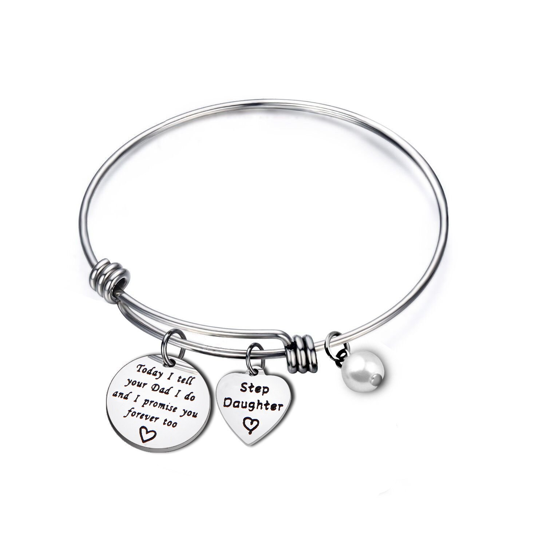 MYOSPARK Today I Tell Your Dad\Mom I Do And I Promise You Forever Too Bracelet Stepdaughter Bracelet Blended Wedding Gift for Her