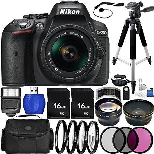 Nikon D5300 DSLR Camera (Black) Bundle with 18-55mm f/3.5-5.6G VR AF-P DX NIKKOR Lens, Carrying Case and Accessory Kit (29 Items)