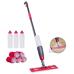 Spray Mop Kit with 5 Microfiber Pads & 3 Refillable Bottles, Trigger for Easy Spraying, 360° Swivel Head, Easy to Change Pad, Microfiber Mop with Integrated Sprayer Safe for All Hard Floor Cleaning