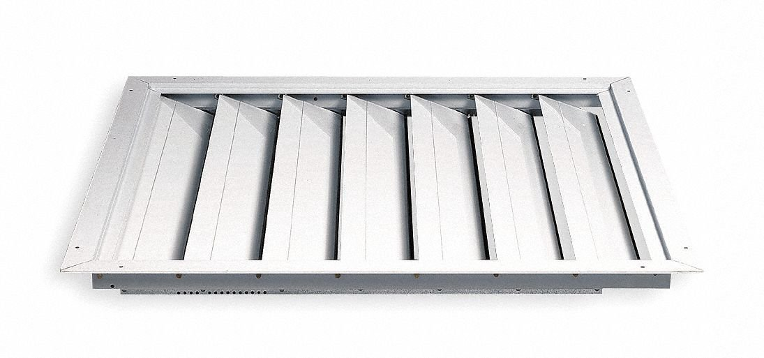 Fan Shutter, 30 In, White Painted Aluminum