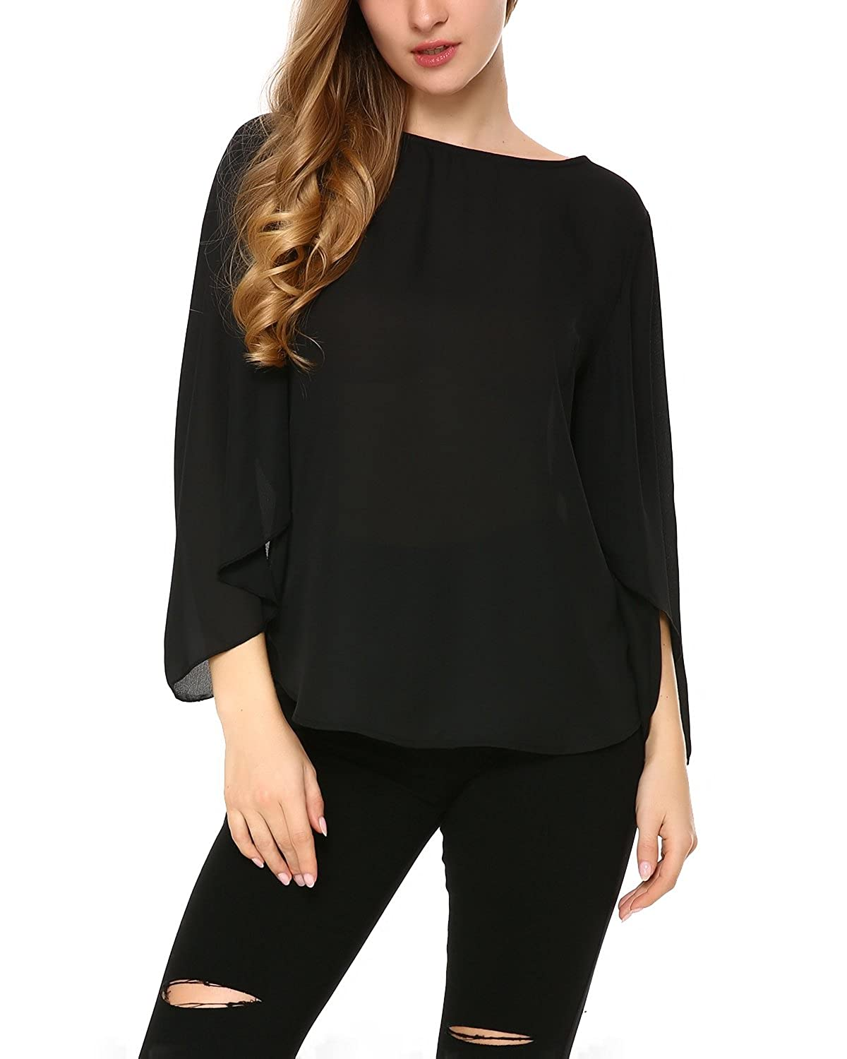 fc275dd002ccc ☆Design  Loose slim fitting Sexy Chiffon Deep V-neck blouse Adjustable  sleeve length(Cuffed 3 4 long sleeve blouses with 2 ...