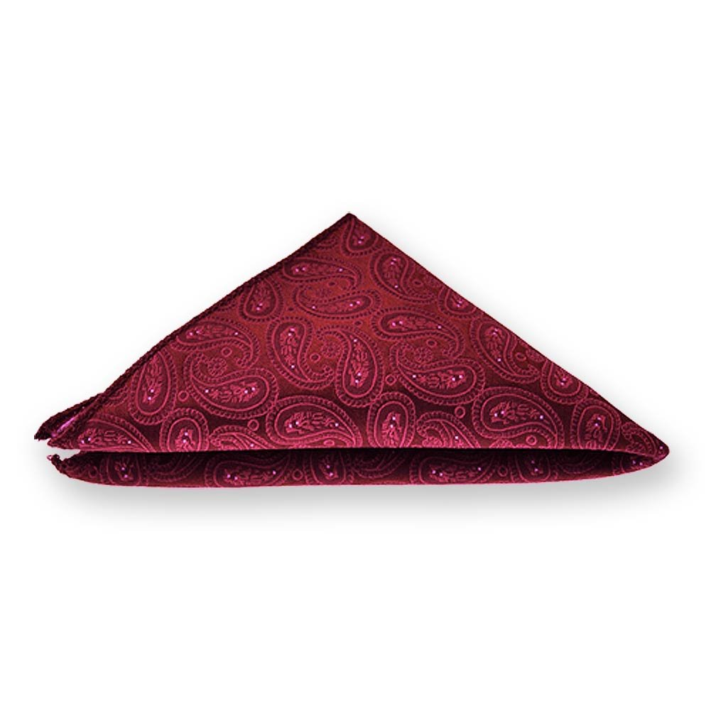 TieMart Crimson Red Darlene Paisley Pocket Square