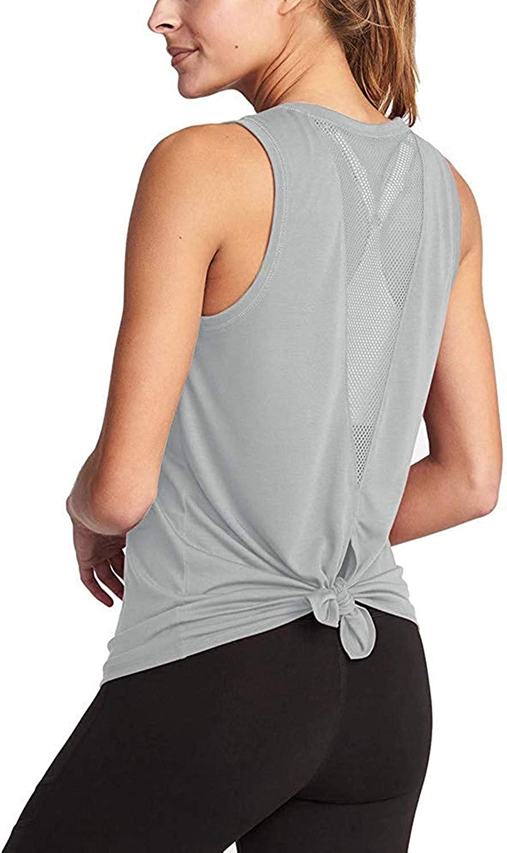 Womens O Neck Mesh Sports Tops Vest Sleeveless Shirt Blouse Tee T-Shirt Fitness Yoga Clothes