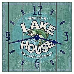 Personalized Lake House Hardboard Wall Clock from Redye Laserworks