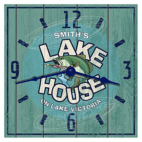 Redeye Laserworks Personalized Lake House Hardboard Wall Clock from