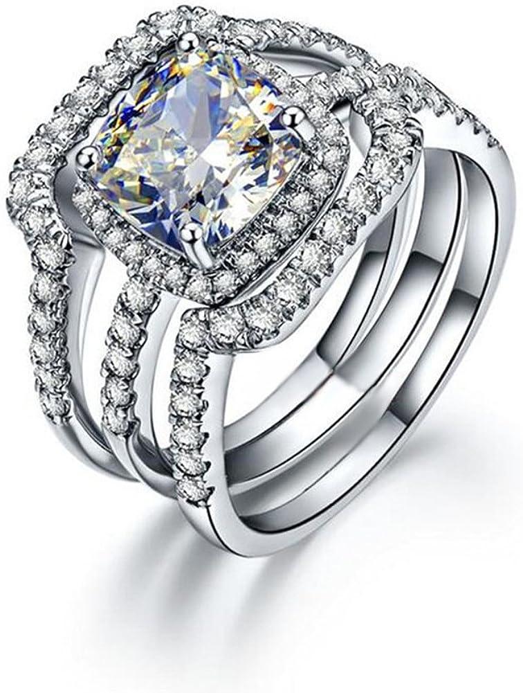 Erllo 3 Carat Cushion Cut Bridal Ring Set 925 Sterling Silver Women Wedding Rings Cubic Zirconia Engagement Anniversary Rings Set