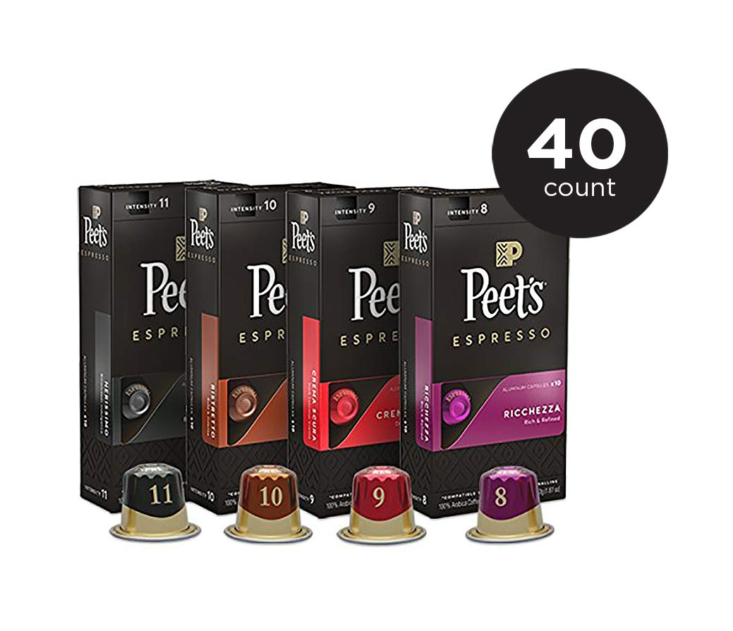 Peets Coffee Espresso Capsules Variety Pack 10 Each (40 Count) Compatible with Nespresso Original
