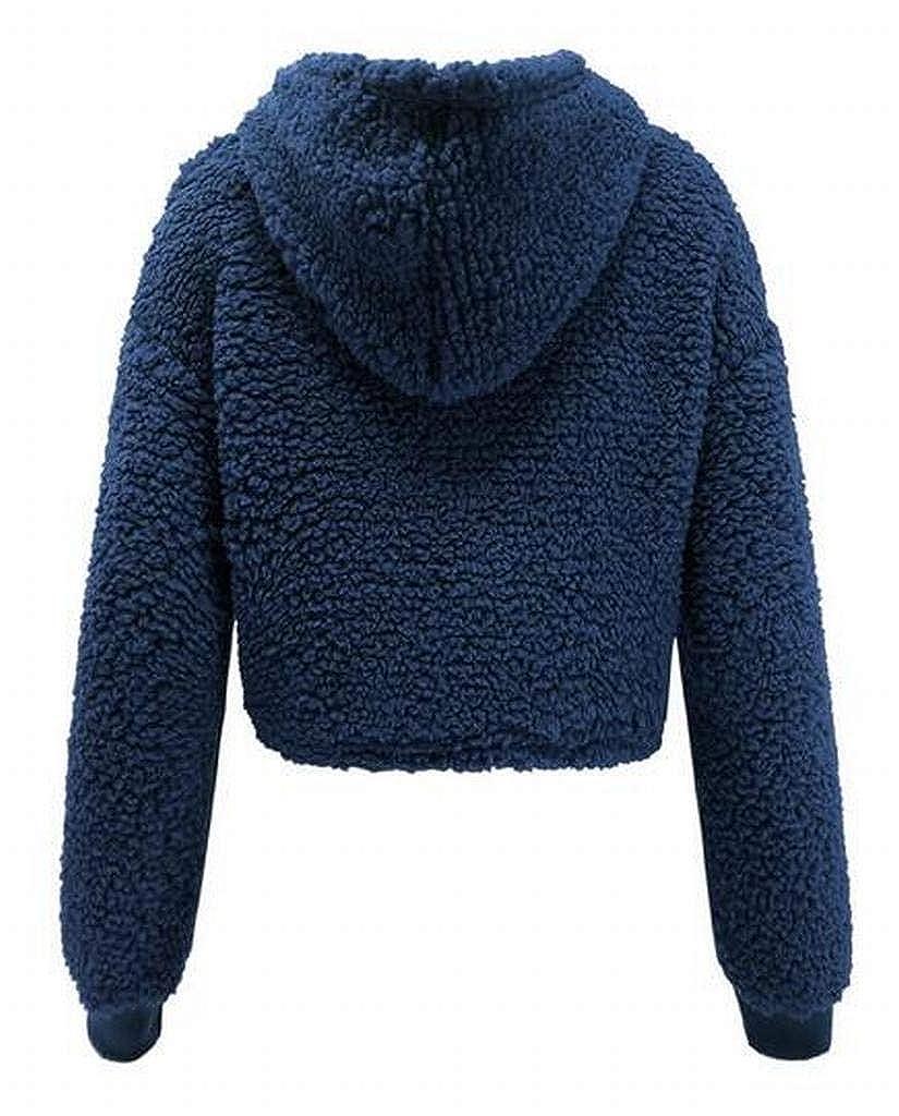 Fubotevic Womens Plus Size Sherpa Hoodie Loose Fleece Winter Crop Top Pullover Sweatshirt