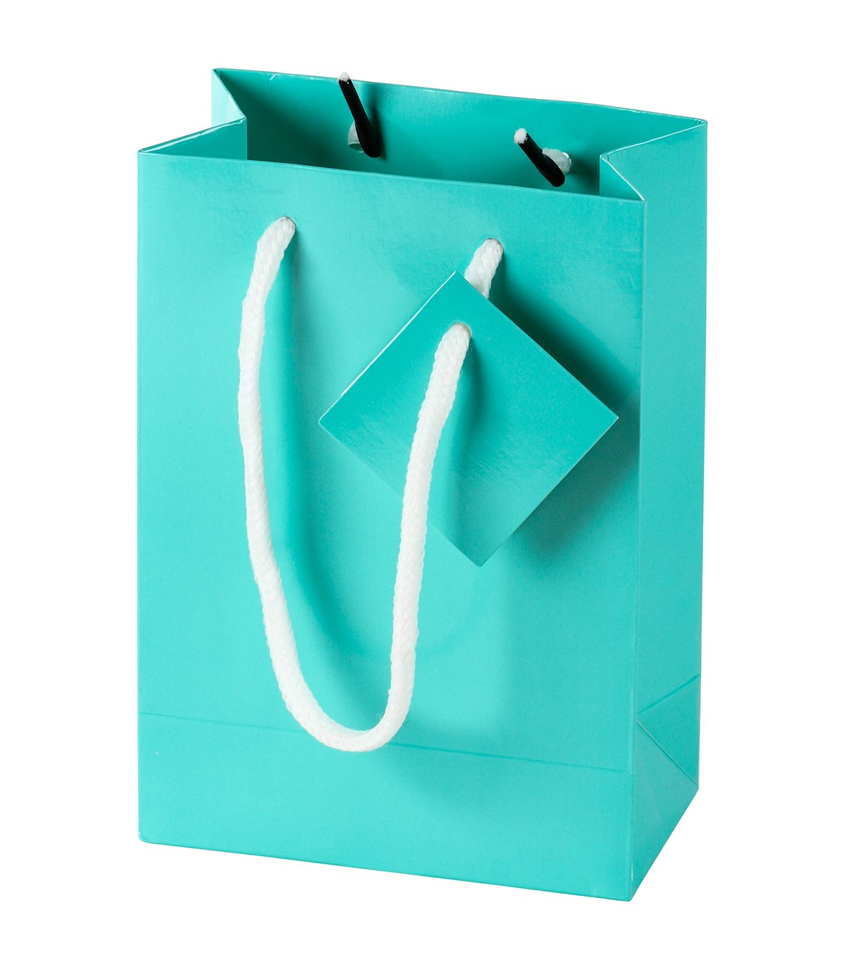 Paper Gift Bag - 20-Pack Small Party Favor Bags, Mini Paper Bags, Tissue Paper Included, Glossy Finish Teal Color, 4.75 x 6.75 x 2.5 inches by Blue Panda (Image #2)