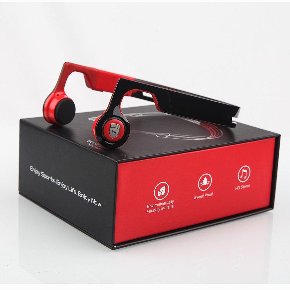 Bone Conduction Earphones,Wireless Headphones Bluetooth 4.2 Stereo Open Eardrum Headphones Waterproof for Sports Driving Running Driving,Sweatproof Waterproof (Red)