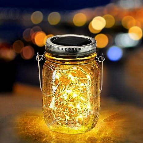 Luces De Jardin Solares,Qomolo 20 LED Luz Jardín Impermeable Exterior Solar Decoración Lámpara Mason