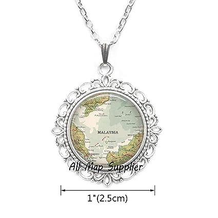 Amazon com : AllMapsupplier Fashion Necklace, Malaysia map