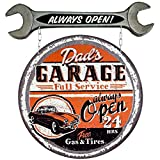 Cheap LARGE Vintage Style Dad's Full Service Garage Always Open Metal Tin Sign Wall Mount MAN CAVE Father's Day Gift