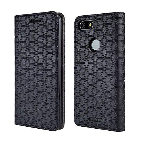 BLU Vivo XL3 Case, [Kickstand] [Card Slot+Side Pocket] Premium Soft PU Color Matching Leather Wallet Cover Flip Case Protective Case for Blu Vivo XL3 (Black)