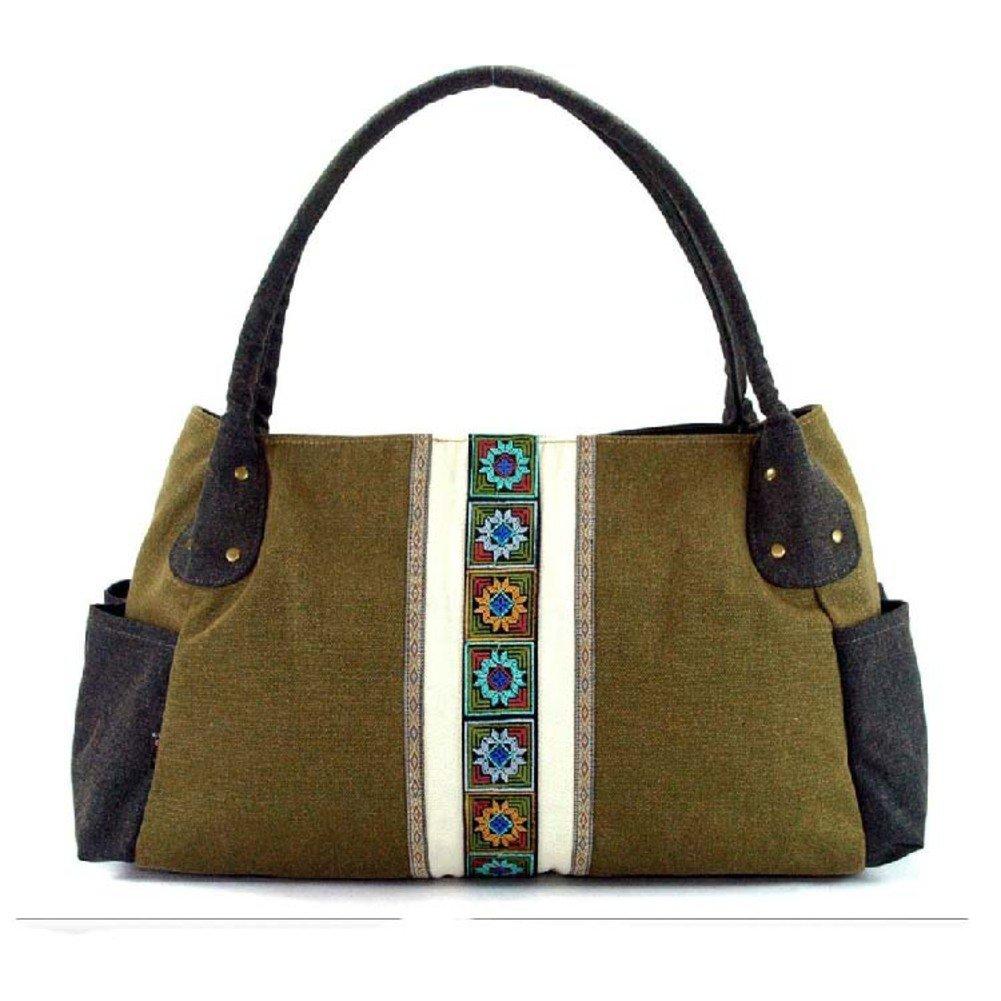 Ladies handtasche, Canvas-tasche, Grüne retro tasche