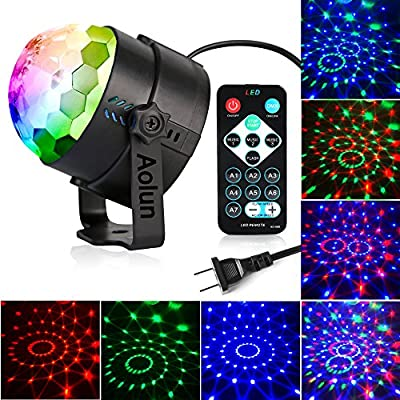Party Lights,Disco Lights Sound Activated with Remote, Disco Ball Light,Stage lights-Multi Colors Rotating Magic LED Strobe Lights for Halloween,Xmas Parties,Room,Pool,Club,Home,Church,Karaoke,Wedding