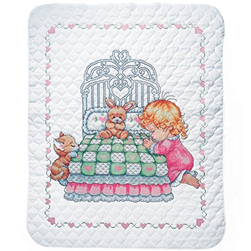(Tobin Bedtime Prayer Girl Baby Quilt - Stamped Cross Stitch Kit T21709-36 by 43 inches - with Gift Card)