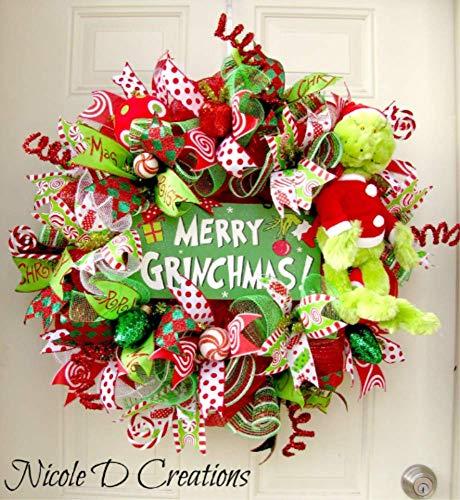The Grinch Christmas Wreath- Holiday Wreath- Deco Mesh Wreath- Front Door Wreath