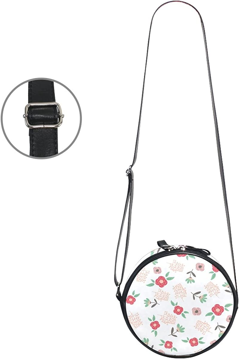 XinMing Funny Leaf Floral Girl Round Crossbody Shoulder Bags Adjustable Top Handle Bags Satchel for Women