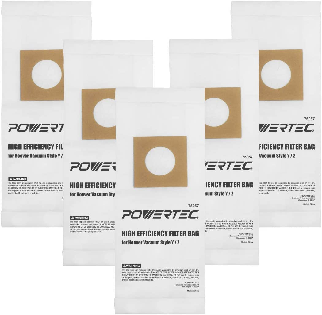 POWERTEC 75057 Hoover Vacuum Replacement Bags Type Y/Z | 2 Ply Allergen Vacuum Filter Bag – 10 Pack
