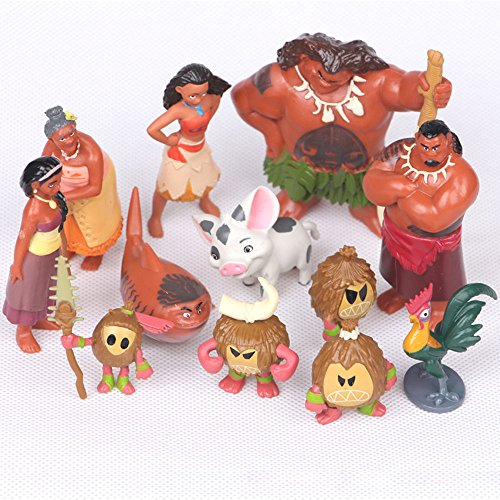 Action Figures Movie Moana   2017 Movie Moana 12P Mini Action Figures Pvc Decorations Cake Topper Toy Suitable For Babies And Children   Perfect Birthday Gifts   Toy Doll For Kids And Toddlers