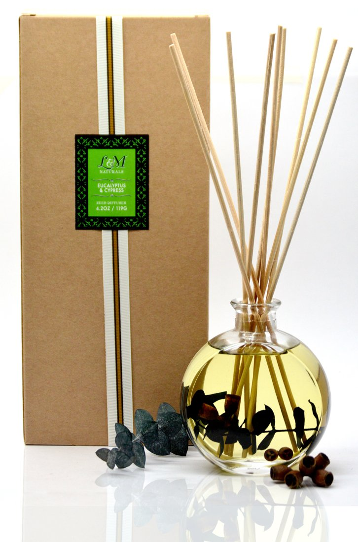 L&M Naturals Eucalyptus & Cypress Fragrance Diffuser - Made with Real Eucalyptus Plants and Botanical Aromatherapy Oils