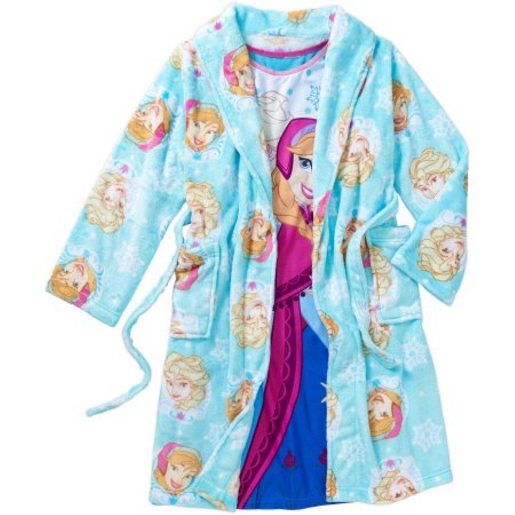 Disney Frozen Anna Elsa Girl 2 PC Bathrobe Nightgown Pajama Set Size 7/8