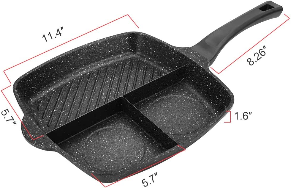 3 Sections Divided Pan, Ejoyway, 11.4×11.4 Non-stick 3-in-1 Breakfast Pan Grill Fry Oven Divided Meal Skillet Grill Pan Stone Ceramic Frying Pan Induction Fry Pan Aluminum Cooker Pan