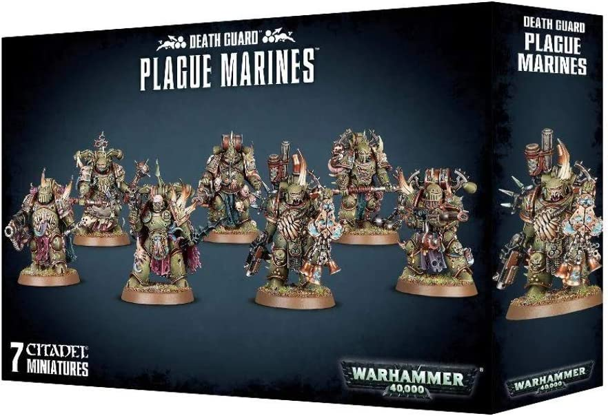 Warhammer 40k Death Guard Nurgle Plague Marines set of 7 miniatures on sprue