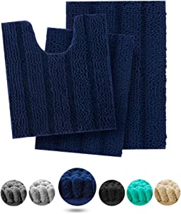IM Home Extra Soft Navy Bathroom Rugs and Mats Set 3 Pieces Bathroom Rug Set Navy Blue, Thick Chenille Bath Rugs Non Slip, Absorbent Plush Shaggy Bath Mats for Bathroom, Shower, Machine Washable