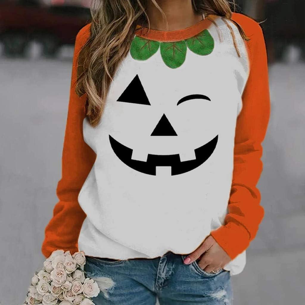 Smiley Pumpkin Print Blouse Womens O-Neck Halloween Print Long-Sleeved Sweatshirt Casual Tops Pullover