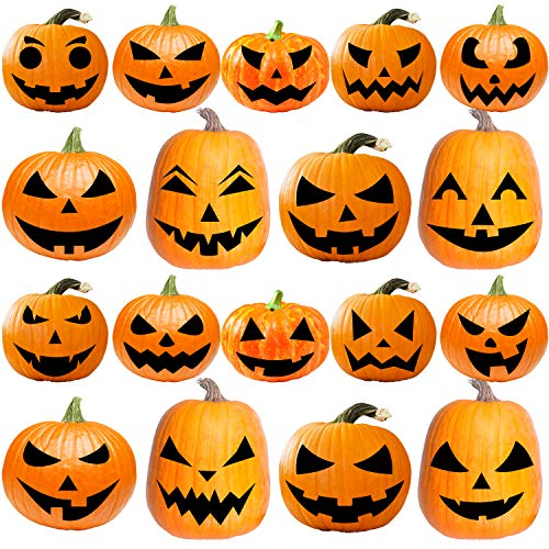 URATOT 18 Pack Halloween Pumpkin Decorating Craft Kits Halloween Pumpkin Sticker DIY Pumpkin Face Stickers for Halloween Party Decoration Props (Style a)
