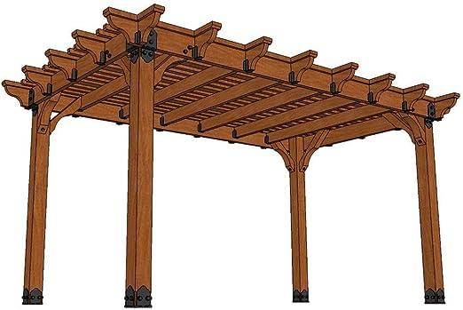 Viñedo 10 pies x 16 pies. DIY Western Red Cedar Pergola: Amazon.es: Jardín