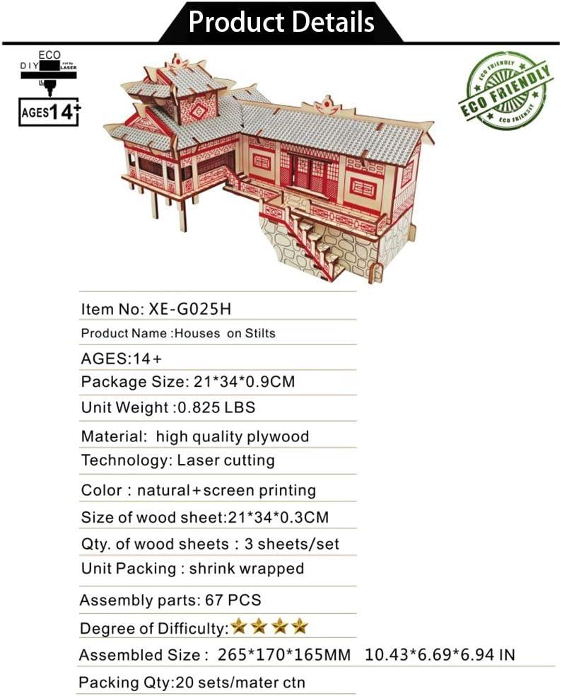 San Valentino Creativo//Compleanno per Ragazzi e Ragazze ZUOQUAN 3D Wooden Puzzle Edificio Xiangxi Puzzle 3D in Legno Tagliato a Laser Gioco Istruttivo per Bambini e Adulti 67 Pezzi