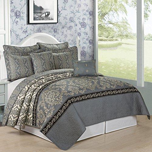 Serenta Printed Microfiber 7 Piece Mystic Bedspread Quilts Set, Queen, Charcoal