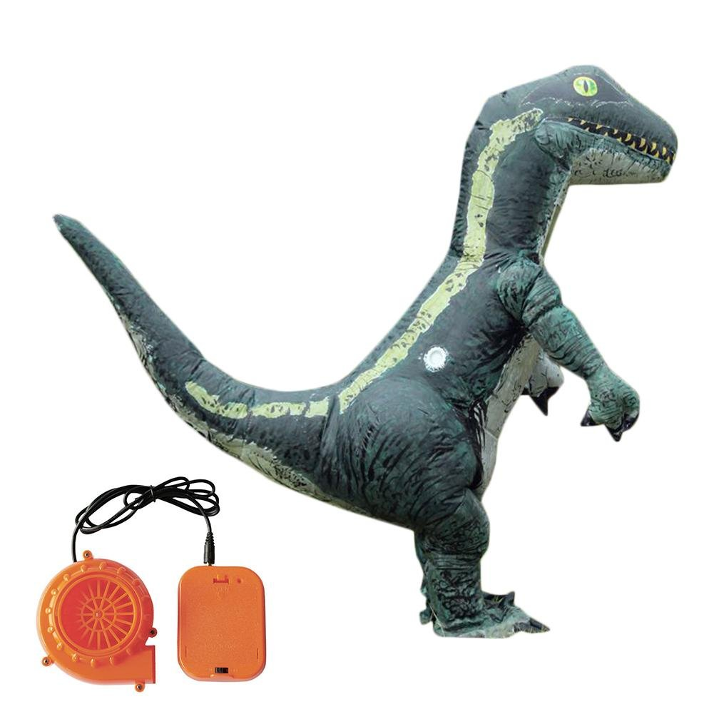 Topaty Inflatable Dinosaur Costume Velociraptor Bodysuit Blow Up Suit Halloween Dress with Blower for Kids and Adult