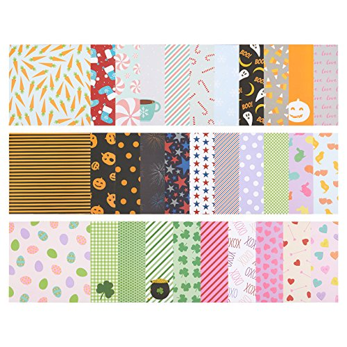 32-Sheet Scrapbook Paper Pad - Designer Paper - Ideal for Scrapbooking and Crafting, 6 Holiday Themes and 32 Unique Designs, 12 x 12 - For Styles Less Designer