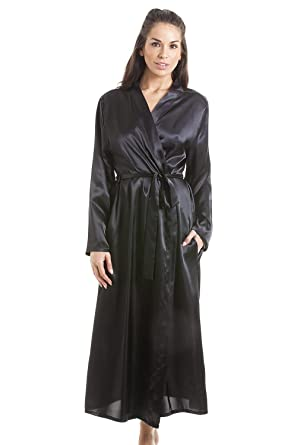 Camille Womens Black Luxury Satin Dressing Gown At Amazon Womens