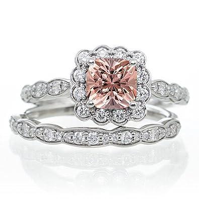 Morganite Wedding Set.2 Carat Princess Cut Morganite And Diamond Wedding Ring Set On 10k White Gold