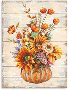 Sunflower Kitchen Pictures Wall Decor: Vintage Inspirational Wooden Background Sun floral Vase Print for Girls' Bedroom Yellow Blooming Flowers Framed Ready to Hang (12
