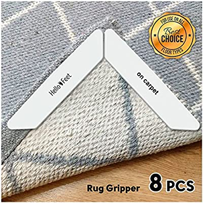 Hello Feet Rug Gripper - Anti Curling Non Slip Carpet Anchors (8 pcs) - Super Sticky Reusable Rug Holders - Perfect Wood Tile Laminate Floor - Flatten Corners Stop Slipping Pads