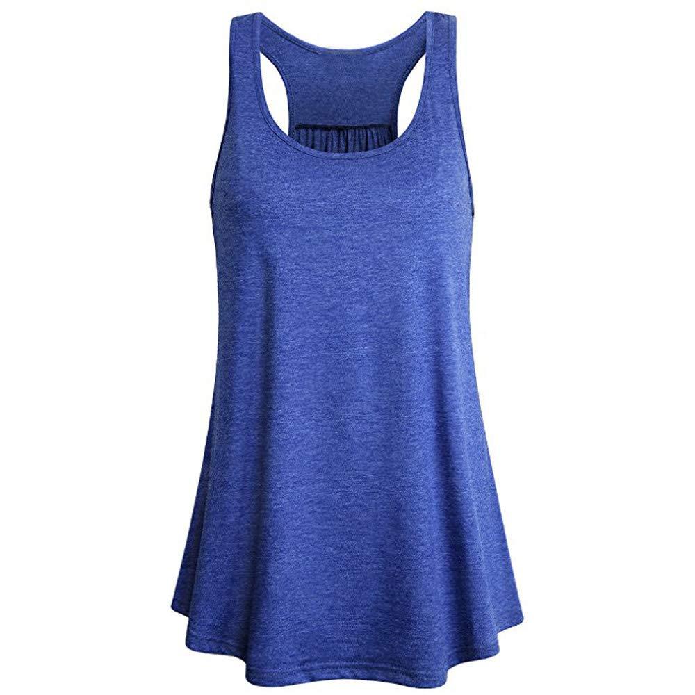 Women Sleeveless Sport Yoga Solid Flowy Racerback Top Tank Blouse Cami Square Neck Vest Blue