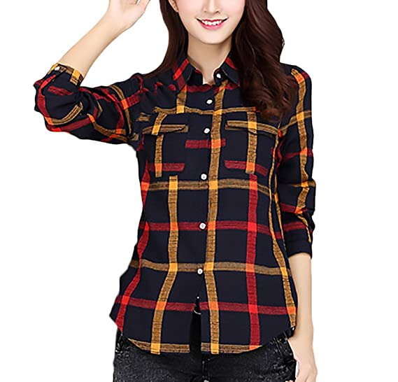 Camisetas Mujer Elegante Casual Primavera Otoño A Cuadros Splice Camisas Manga Larga De Solapa Bicolor Cardigan