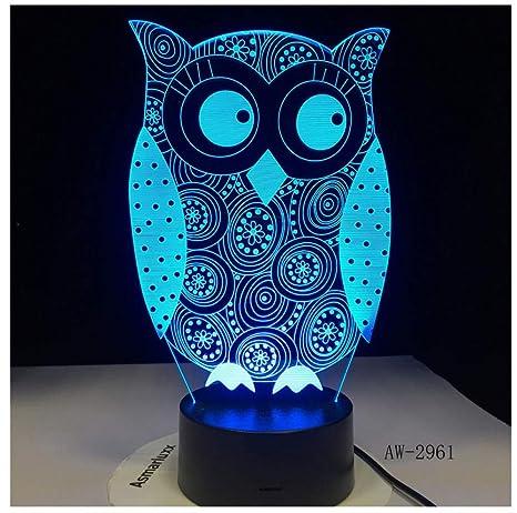 Luz De Noche Ojo Que Mira El Búho 3D Luz De La Noche 7 Colores Cambian