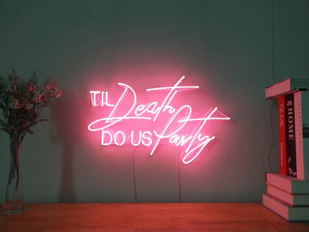 Til Death Do Us Party Real Glass Neon Sign For Bedroom Garage Bar Man Cave Room Decor Handmade Artwork Visual Art Dimmable Wall Lighting Includes Dimmer