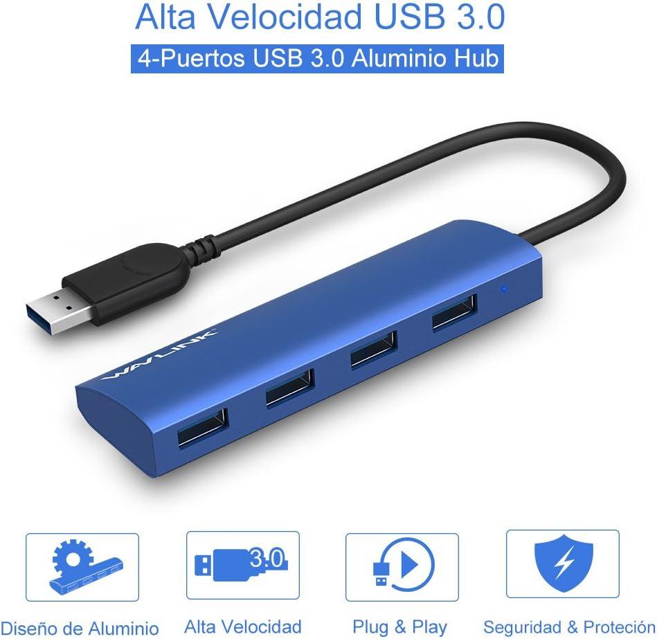 WAVLINK Tipo-A USB 3.0 a 4 Puertos de USB 3.0 Hub Alta Velocidad Soporta Hot Swapping Diseño de Aluminio (Azul)