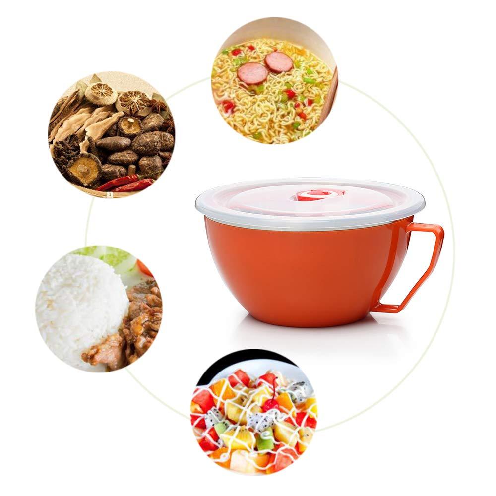 GerTong Acero Inoxidable Big Bowl con Tapa y asa para la Cocina casera, de Doble Capa instantánea de Fideos de harina de Avena Harina del Recipiente de ...