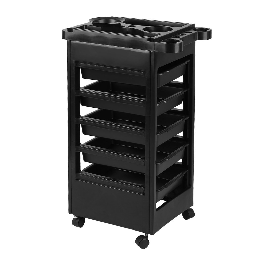 homgrace Hairdressing Storage Trolley with 6 Shelves Hair Dryer Holder, Professional Cart for Belleza Beautician Massage Manicure Spa Black HY1706060