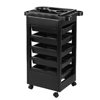 Carrito de almacenamiento de peluquería con 6 estantes para secador de pelo, carrito profesional para